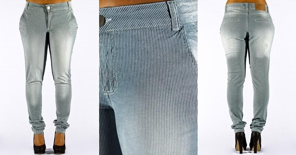 Calça jeans blue skinny listrada; R$89,90 na Renner  (Tel.: 4003-3777)