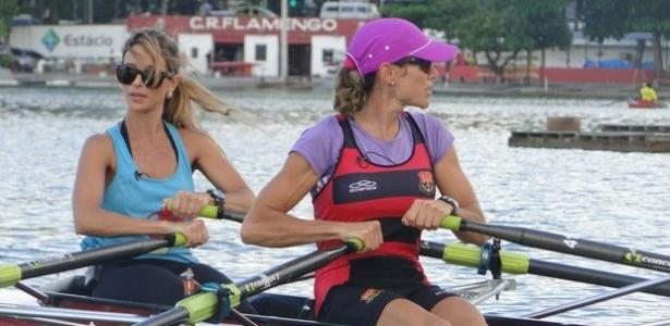 Dany Bananinha faz aula de remo com Fabiana Beltrame na Lagoa Rodrigo de Freitas, no Rio (17/4/12)
