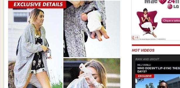 Miley Cyrus deixa hospital após se ferir com faca (16/4/12)