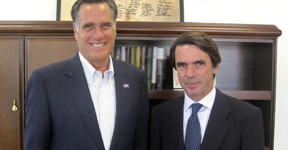 Republicano Mitt Romney se encontra com o ex-primeiro-ministro espanhol, José María Aznar, em reunião que ocorreu em Boston, Estados Unidos