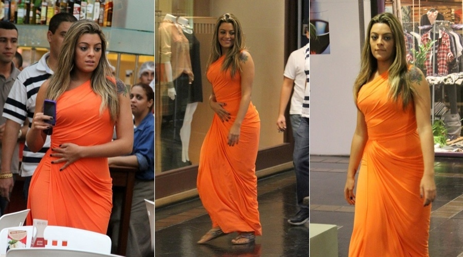 Ex-BBB Monique Amin passeia em shopping da zona oeste do Rio (18/4/2012)