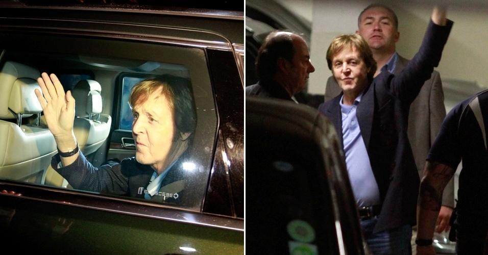 Paul McCartney chega no Recife para os dois shows marcados para sábado (21) e domingo (22), no Estádio do Arruda. O ex-Beatle também toca em Florianópolis dia 25, no Estádio da Ressacada (20/04/12)