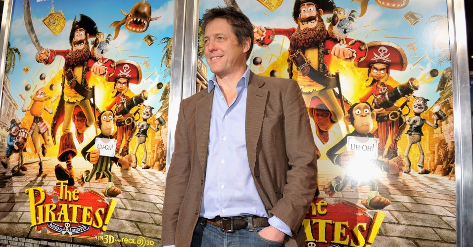 Hugh Grant vai a estreia de seu novo filme, a anima&#231;&#227;o em stop motion &#34;Piratas pirados!&#34;, em Nova York, EUA (22/4/12)