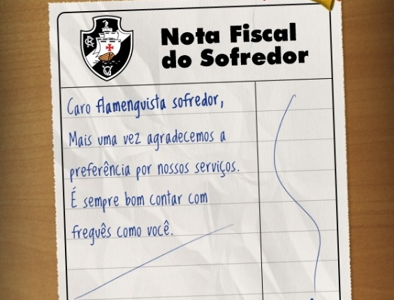 Vasco passa nota fiscal para torcedor flamenguista
