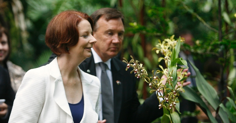 A primeira-ministra australiana, Julia Gillard, cheira orqu&#237;dea ap&#243;s cerim&#244;nia de nomea&#231;&#227;o das flores nos Jardins Bot&#226;nicos de Cingapura