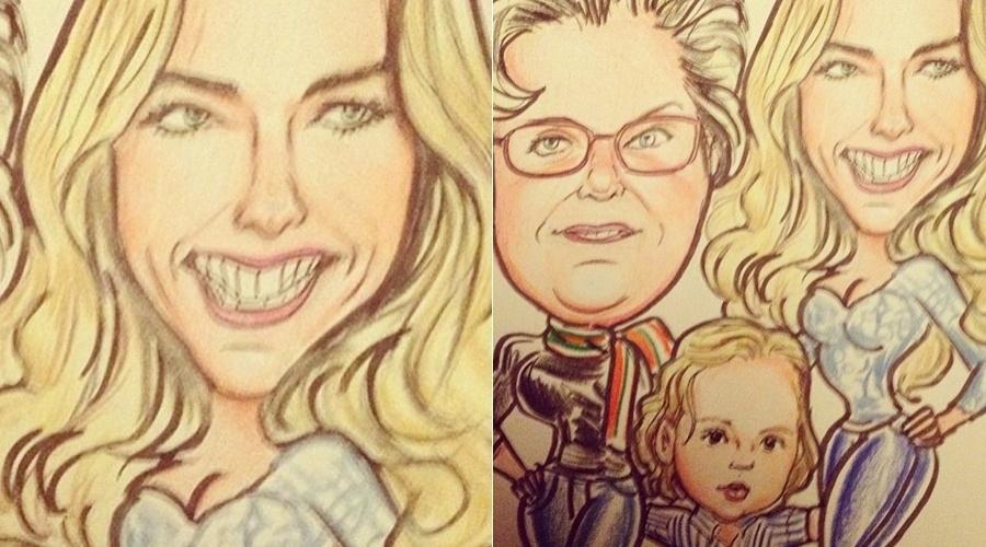 Adriane Galisteu, a mãe Ema e o filho Vittorio em versão caricatura (23/4/12)