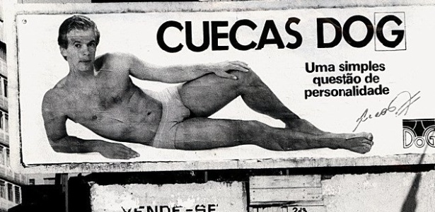 Hoje treinador, Leo estampa outdoor em propaganda de cueca, em 1985