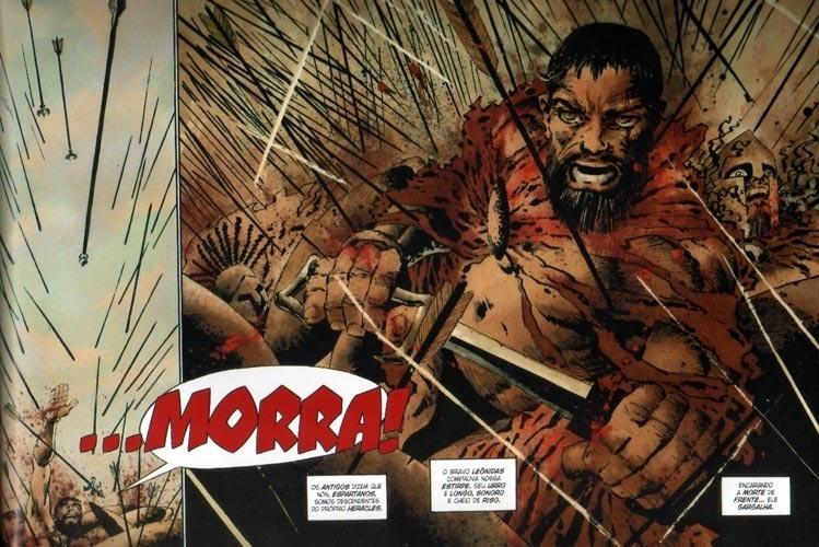 """Os 300 guerreiros de Esparta, que """"sob o comando de Leônidas"""" enfrentaram as legiões persas, em número muito superior (cerca de 2 milhões, segundo o historiador Heródoto), podem ser comparados aos super-heróis das histórias em quadrinhos. É assim que são vistos no álbum de Frank Miller (imagem). Para compreender a história, porém, é preciso separar os fatos das lendas."""