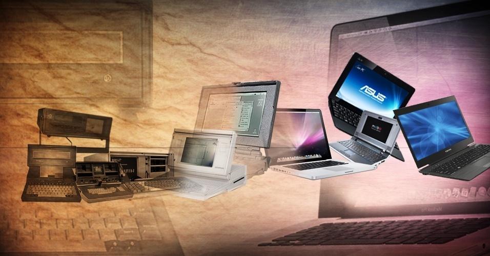 Arte para chamada de álbum sobre evolução do peso de computadores móveis