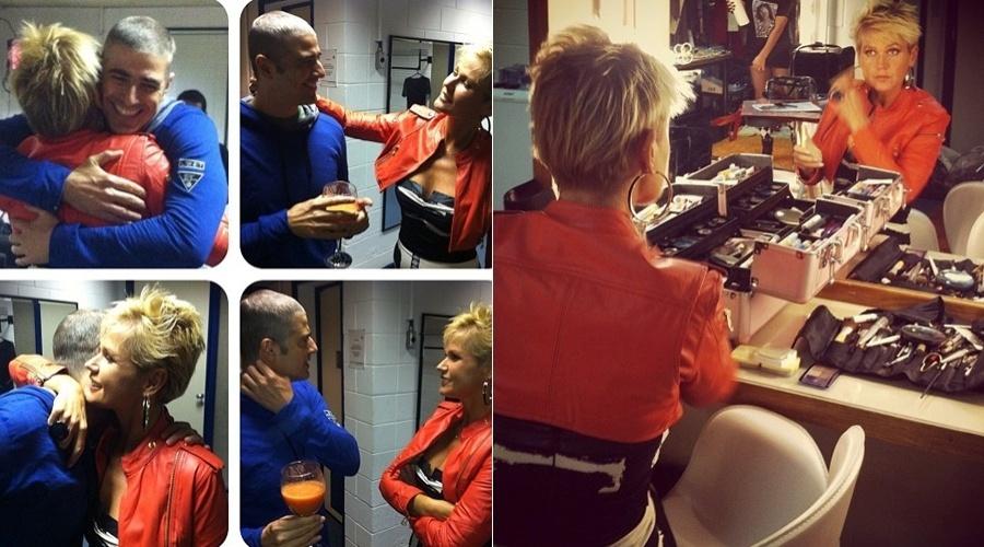 Xuxa e Reynaldo Gianecchini se abraçam no camarim da apresentadora (25/4/12)