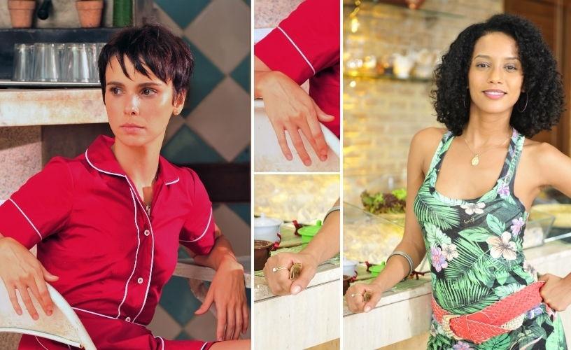 Esmaltes de personagens da novela; Nina (Débora Falabella) e Penha (Taís Araújo)