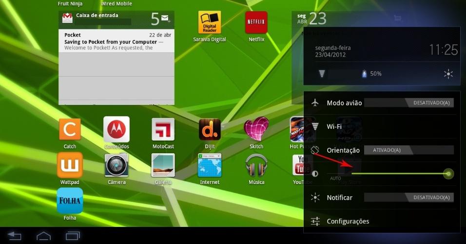 Print da tela do tablet Motorola Xoom 2 com sistema Android Honeycomb
