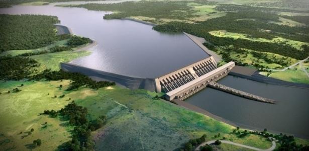 27.abr.2012 - Ilustração artística mostra a usina hidrelétrica de Belo Monte, no rio Xingu, no Pará, um dos mais importantes projetos do PAC (Programa de Aceleração do Crescimento)