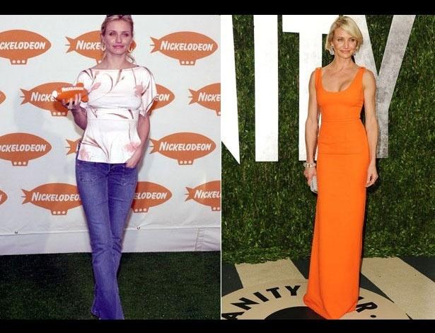 Cameron Dias em 2001, aos 29 anos; e em 2012, aos 40 anos