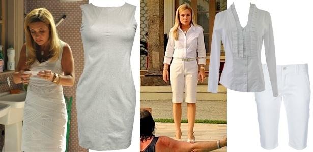 """Carminha (Adriana Esteves), da novela """"Avenida Brasil"""", usa figurino composto por roupas brancas e claras"""