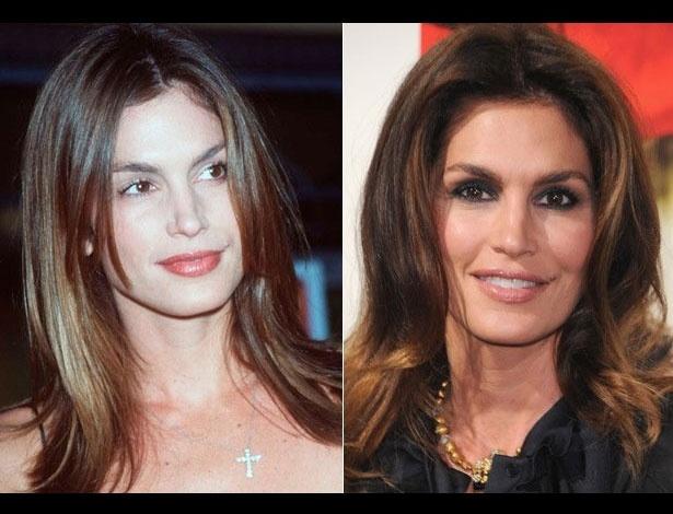 Cindy Crawford em 1998, aos 34 anos; e em 2011, aos 45 anos