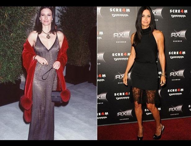 Courteney Cox em 1999, aos 35 anos; e em 2011, aos 47 anos