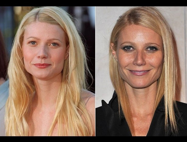Gwyneth Paltrow em 1998, aos 25 anos; e em 2012, aos 39 anos