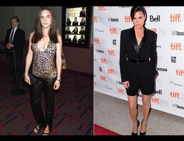 Jennifer Connelly em 2000, aos 30 anos; e em 2010, aos 40 anos