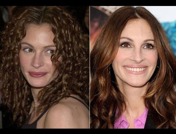 Julia Roberts em 2000, aos 33 anos; e em 2012, aos 45 anos