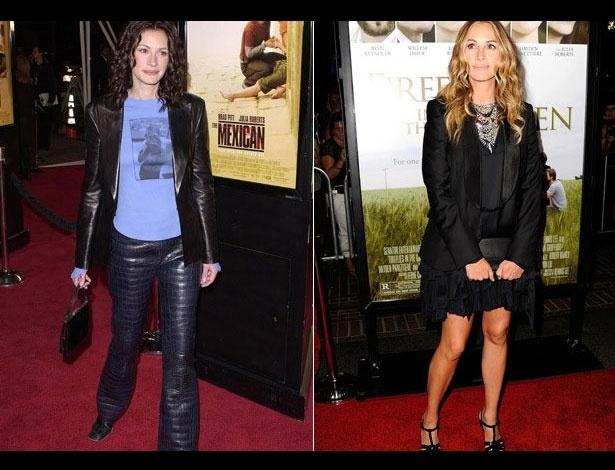 Julia Roberts em 2001, aos 34 anos; e em 2011, aos 44 anos