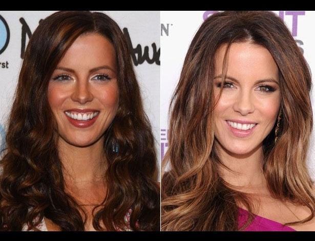 Kate Beckinsale em 2001, aos 28 anos; e em 2012, aos 39 anos
