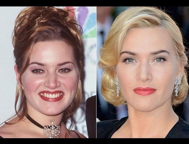 Kate Winslet em1998, aos 23 anos; e em 2012, aos 37 anos