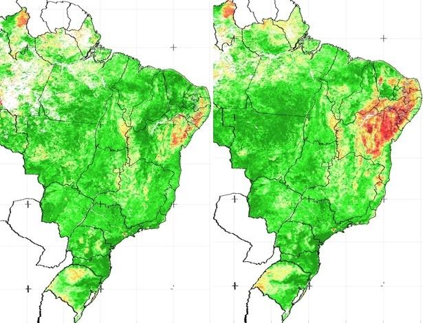 Mapas do Brasil mostram a situação da seca no Nordeste, as áreas em vermelho. A imagem à esquerda (abril de 2011) mostra 15% da região atingida, já a imagem à direita (abril de 2012) mostra 80%