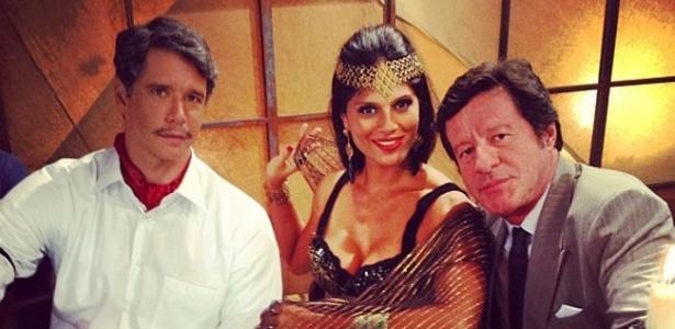 Márcio Garcia, Gisele Motta e Joaquim de Almeida nos bastidores da filmagem do filme