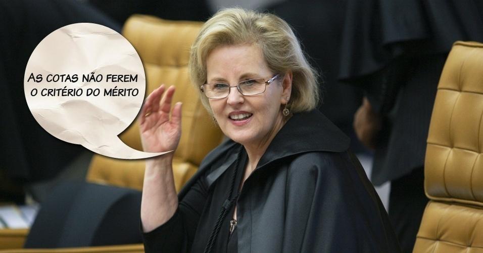 """Ministra Rosa Weber: """"As cotas não ferem o critério do mérito"""""""