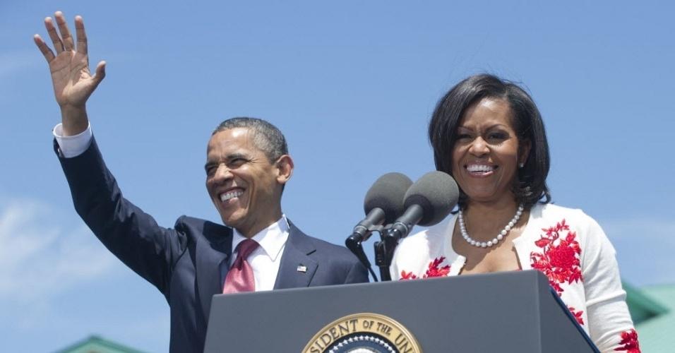 27.abr.2012- Presidente dos EUA, Barack Obama, e a primeira-dama, Michelle Obama