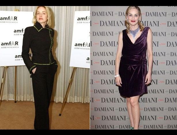 Sharon Stone em 2000, aos 42 anos; e em 2012, aos 54 anos