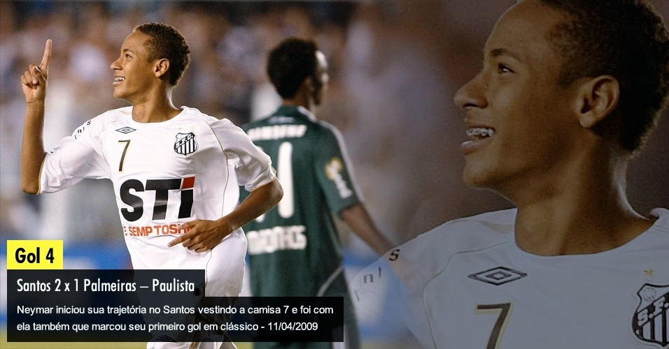 Neymar iniciou sua trajetória no Santos vestindo a camisa 7 e foi com ela também que marcou seu primeiro gol em clássico - 11/04/2009