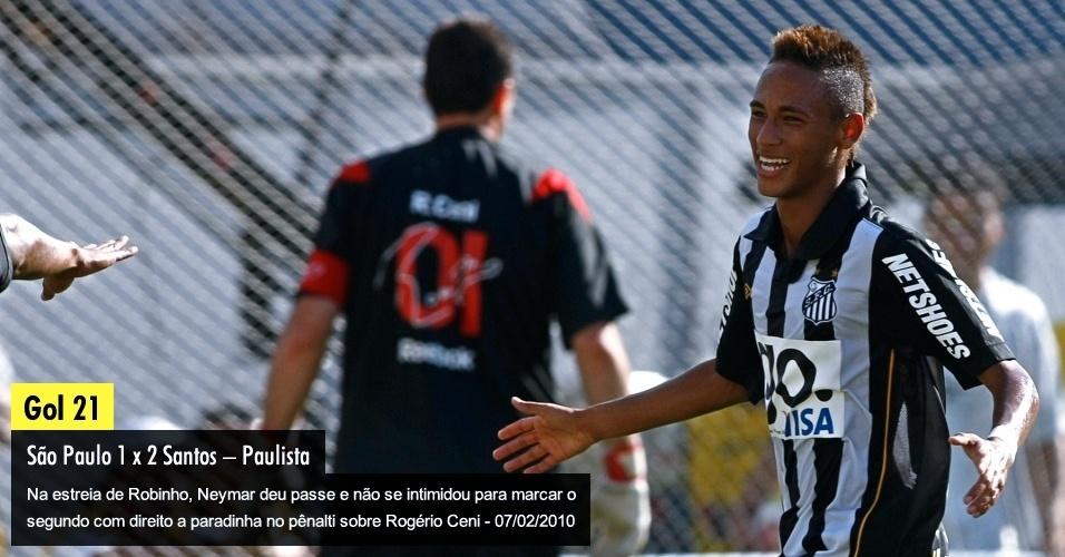 Na estreia de Robinho, Neymar deu passe e não se intimidou para marcar o segundo com direito a paradinha no pênalti sobre Rogério Ceni - 07/02/2010