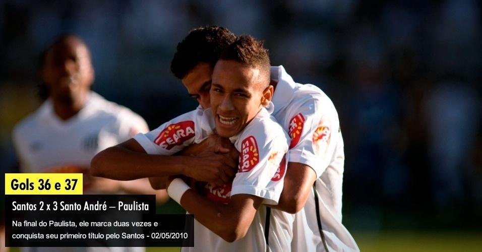 Na final do Paulista, ele marca duas vezes e conquista seu primeiro título pelo Santos - 02/05/2010