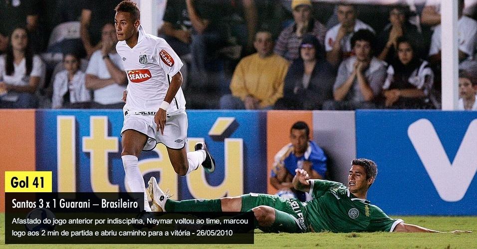 Afastado do jogo anterior por indisciplina, Neymar voltou ao time, marcou logo aos 2 min de partida e abriu caminho para a vitória - 26/05/2010