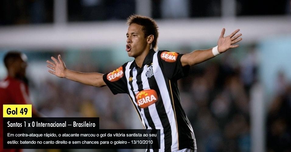Em contra-ataque rápido, o atacante marcou o gol da vitória santista ao seu estilo: batendo no canto direito e sem chances para o goleiro - 13/10/2010