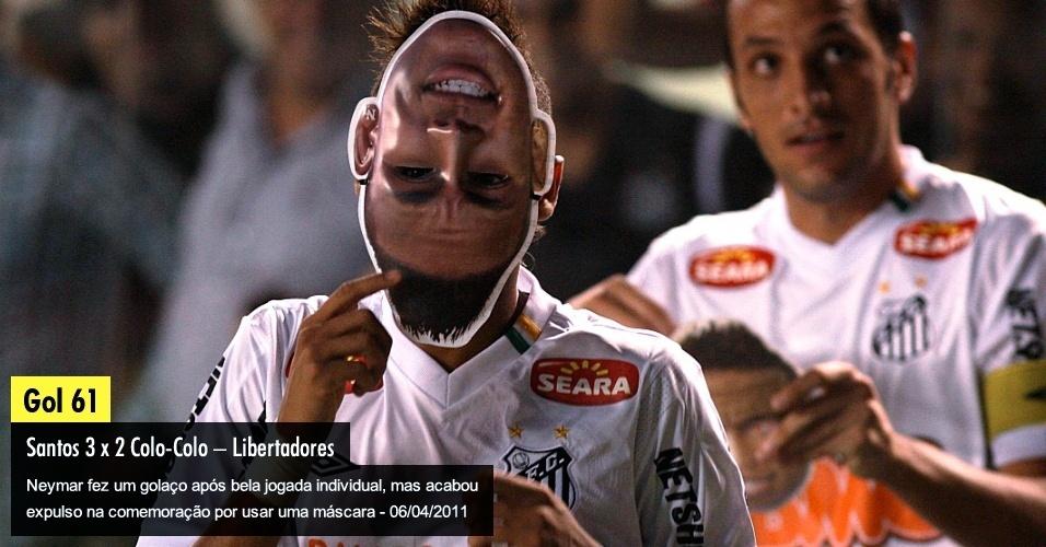 Neymar fez um golaço após bela jogada individual, mas acabou expulso na comemoração por usar uma máscara - 06/04/2011