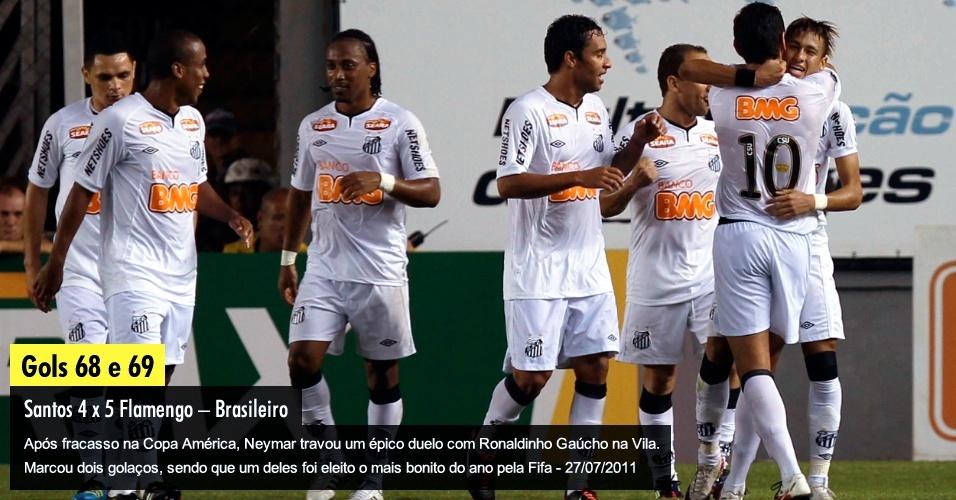 Após fracasso na Copa América, Neymar travou um épico duelo com Ronaldinho Gaúcho na Vila. Marcou dois golaços, sendo que um deles foi eleito o mais bonito do ano pela Fifa - 27/07/2011