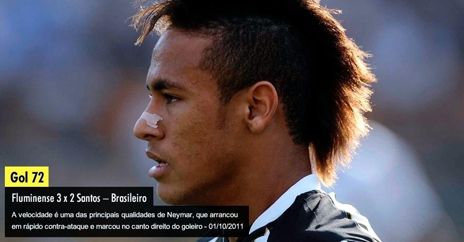 A velocidade é uma das principais qualidades de Neymar, que arrancou em rápido contra-ataque e marcou no canto direito do goleiro - 01/10/2011