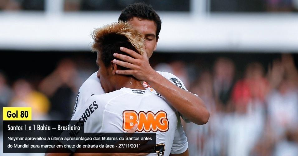 Neymar aproveitou a última apresentação dos titulares do Santos antes do Mundial para marcar em chute da entrada da área - 27/11/2011