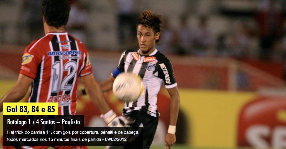 Hat trick do camisa 11, com gols por cobertura, pênalti e de cabeça, todos marcados nos 15 minutos finais de partida - 09/02/2012