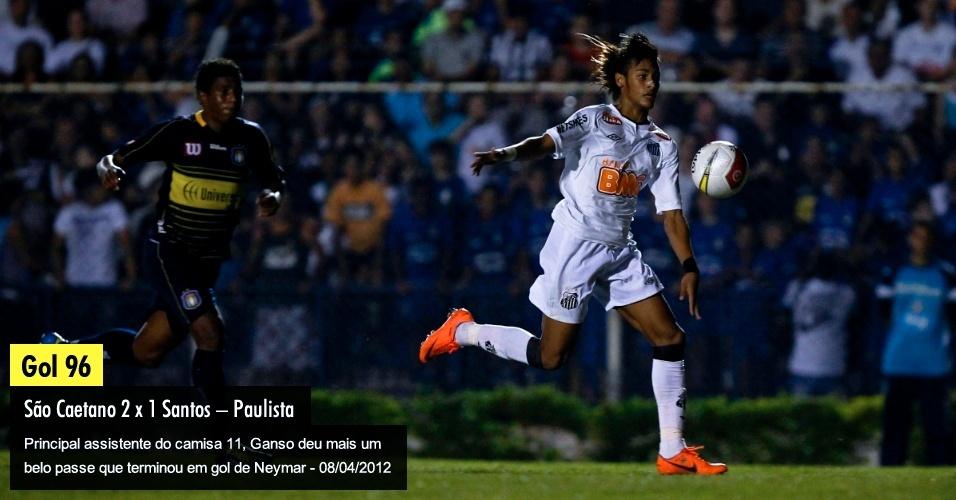 Principal assistente do camisa 11, Ganso deu mais um belo passe que terminou em gol de Neymar - 08/04/2012