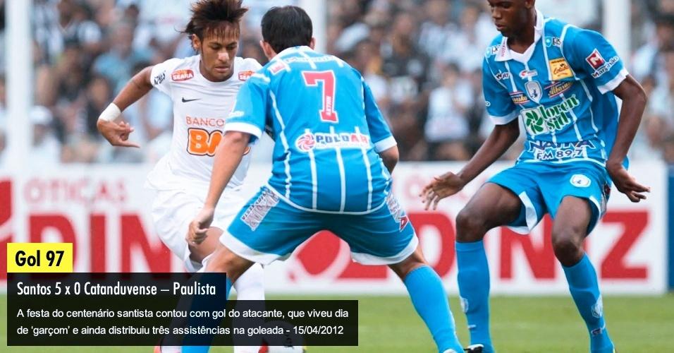 A festa do centenário santista contou com gol do atacante, que viveu dia de 'garçom' e ainda distribuiu três assistências na goleada - 15/04/2012
