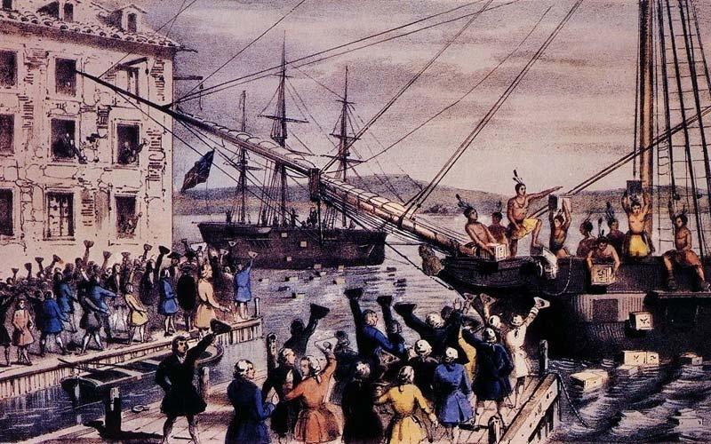 Causou revolta a manutenção do imposto do chá nas colônias da Inglaterra decidida pelo Parlamento inglês em 1º  de maio de 1769. E americanos vestidos como índios jogaram no mar a carga dos navios, no episódio conhecido como a Festa do Chá. A guerra explodiu logo depois e os americanos tiveram que usar muito mais que arco e flecha para conseguir sua independência.