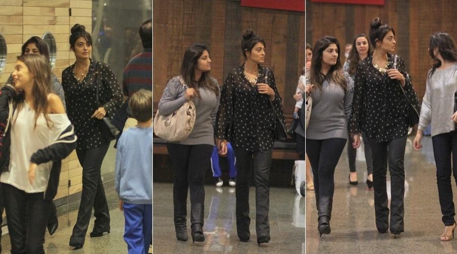 Juliana Paes passeia acompanhada da irmã Rosana (esq) e de uma amiga em um shopping da zona oeste do Rio (30/4/12)
