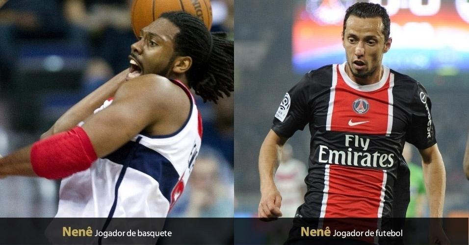 Maybyner Hilario, pivô do Washington Wizards, e Anderson Luiz de Carvalho, atacante do PSG, atendem pelo apelido de 'Nenê'