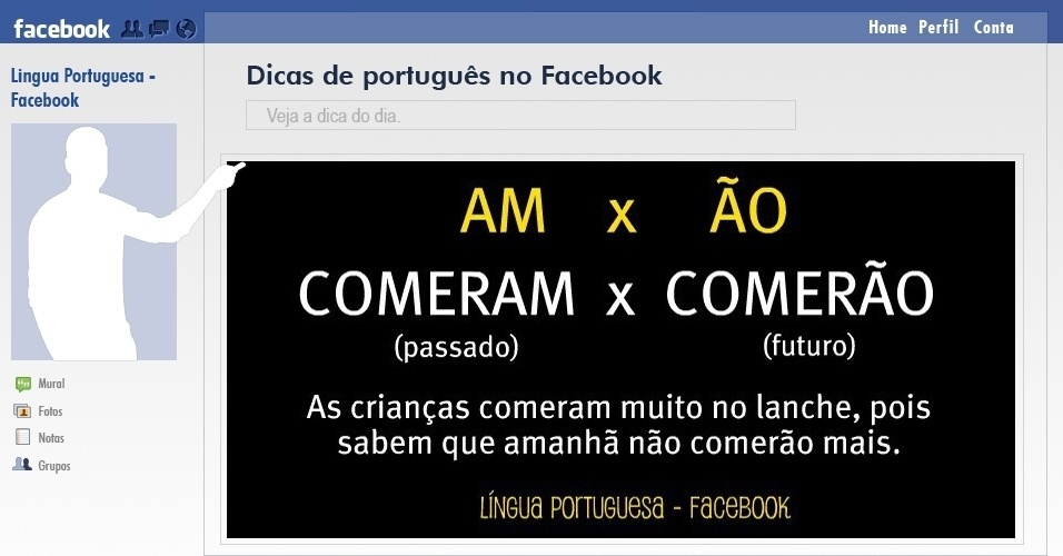  reprodu&#231;&#227;o de dica de portugu&#234;s compartilhada no Facebook