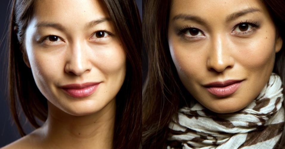 022 Passo a passo Oriental antes e depois; olhos puxados abertos