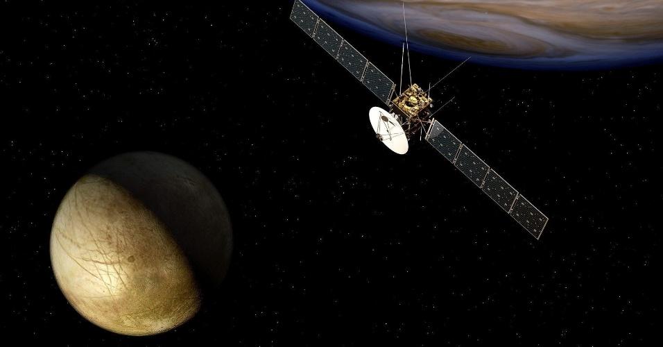 2.mai.2012- Imagem divulgada pela Agência Espacial Europeia (ESA) do planeta Júpiter, de onde um satélite irá explorar em 2030 as luas geladas à procura de vestígios de vida. O satélite irá decolar em 2022 do Espaço Centro Kourou (Guiana Francesa) para o quinto planeta do sol